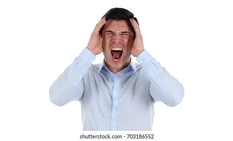 Screaming Businessman, White Background