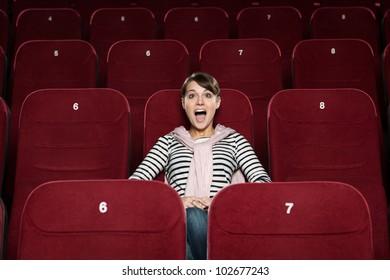 Screaming girl at the cinema
