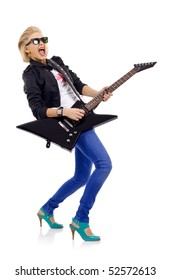 screaming girl with  electric guitar over white