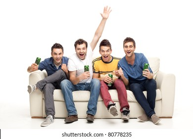 screaming group of young men watching television with beer and popcorn