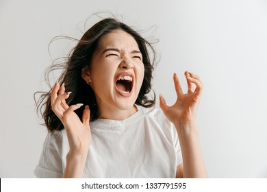 Screaming, hate, rage. Crying emotional angry asian woman screaming on gray studio background. Emotional, young face. Female half-length portrait. Human emotions, facial expression concept.