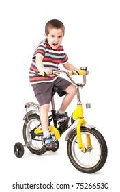 Screaming little boy on bike isolated on white
