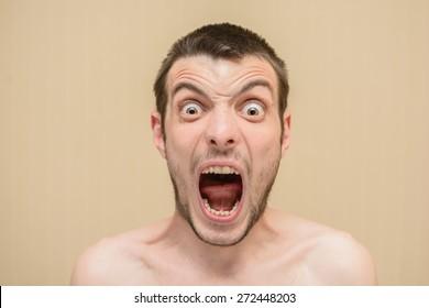 Screaming mad man