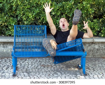 Screaming man falls down from a damaged bench in the park. Shocked tourist has accident on the trip while relaxing.