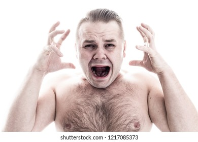 Screaming man on white background without t-shirt / front view