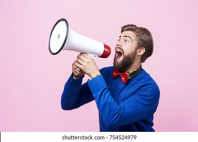 Screaming man using a megaphone