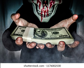 Screaming Show money pressing through as horror smoke .  Success Dupe from Business ethics and Illegal business cause of evil think Concept .