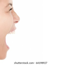 Screaming woman isolated on white background - closeup.