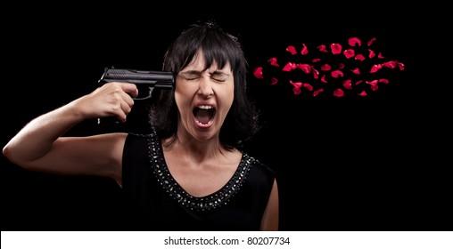 Screaming woman suicide gun shot over black