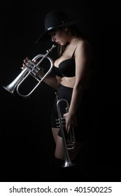 screaming yelling loudly open mouth music trumpet musical instrument girl beautiful young woman