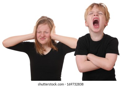 Screaming young boy and girl covering her ears