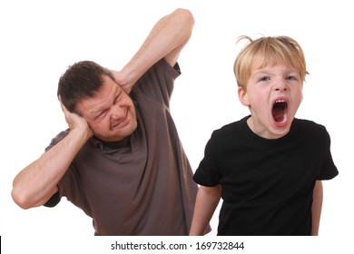 Screaming young boy and man covering his ears