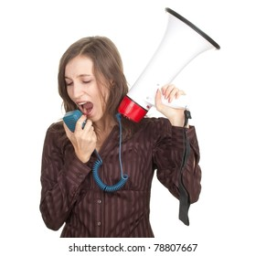 screaming young, long hair woman with megaphone
