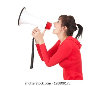 screaming young woman with megaphone, white background