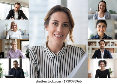 Screen application view of young businesswoman engaged in webcam team conference with diverse colleagues on laptop, businesspeople talk brainstorm on video call, have online briefing or meeting