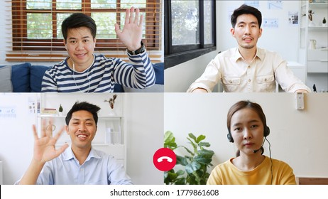 screen of business people work at home and virtual video conference meeting with colleagues via computer laptop or mobile phone, online working, video call due to social distancing at home office