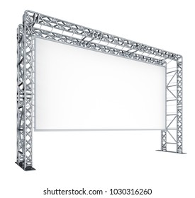 Screen of the cinema, scenes, metal trusses. 3d illustration isolated on white.