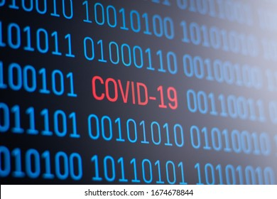 Screen of the computer with binary code of coronavirus. Concept of studying Covid-19 by using modern computer technology