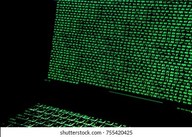 Screen with crypto code, green digitals