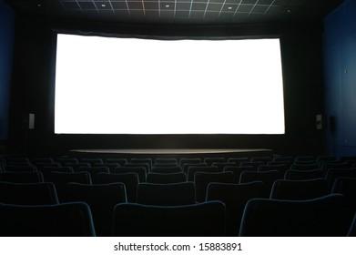 screen in dark cinema