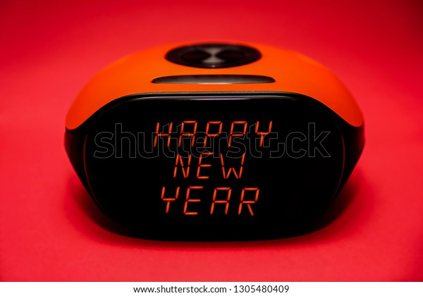 Screen Electronic Alarm Clock Happy New Stock Photo (Edit
