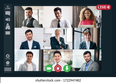Screen Facetime Meeting Monitor of Multiethnic Business People Having VDO Conference Live Streaming in Social Distance Concept in Coronavirus(Covid-19) Outbreak