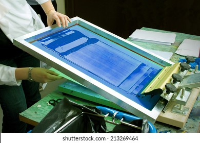 Screen Print With Blue Ink