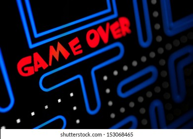 Screen showing that the Game is Over. Macro picture of a video game.