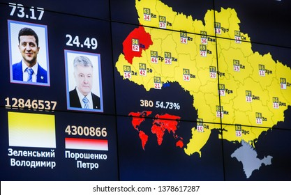 A screen shows the preliminary results of Presidential elections at the headquarters of the Central Electoral Commission in Kiev, Ukraine. April 22, 2019.