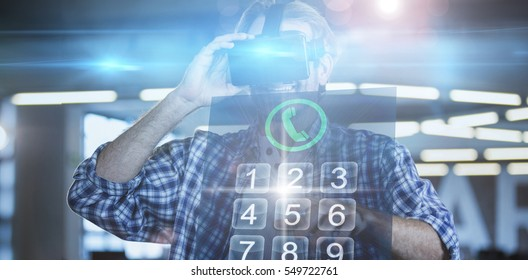 Screen of a smartphone against creative businessman using virtual reality simulator