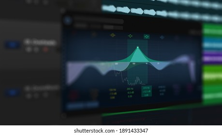 Screen of Sound and Music Editing Application. User Interface of DAW Digital Audio Workstation Software with Equalizer. - Shutterstock ID 1891433347