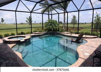 Screened in outdoor luxury swimming pool