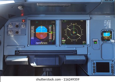 Screens in an airplane cockpit - the control panel for directions, fuel and horizon among others