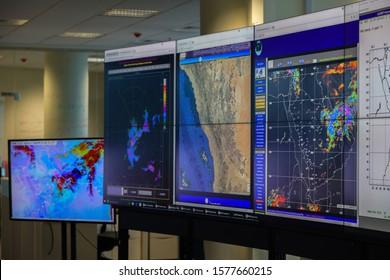 screens for radar monitoring in meteorological department,