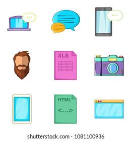 Screenshot icons set. Cartoon set of 9 screenshot icons for web isolated on white background