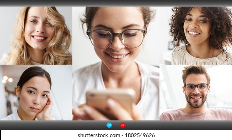 Screenshot image of young multinational people making online conference call