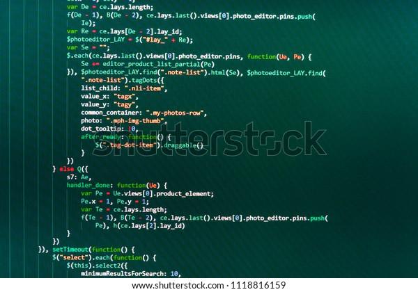 Screenshot Random Parts Program Code Javascript Stock Photo (Edit