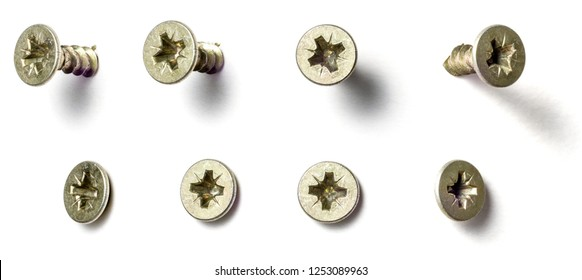 A screw from different perspectives on a white background