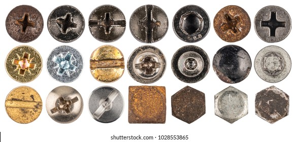 Screw heads, nuts, rivets. Isolated on white background. Top view.
