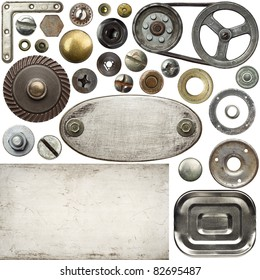 Screw heads, textures, frames and other metal details