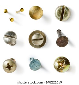Screw and nail heads collection on white background