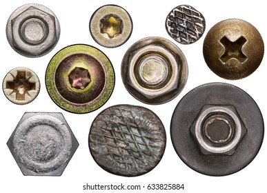Screw and nail heads, nuts, rivets isolated on white.