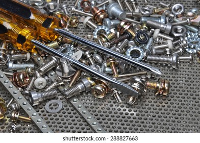 Screwdrivers and components bolts, nuts, washers, screw