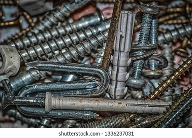 screws, bolts, pegs and other tools for renovation
