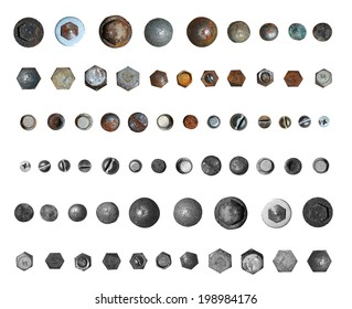 Screws head collection. Isolated on white background