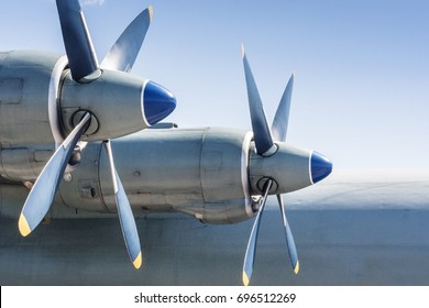 Screws of military huge aircraft. Airforce background.