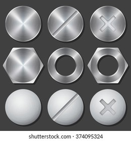 Screws, nuts and bolts icons