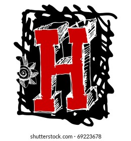 scribble ABC, hand drawn letter H
