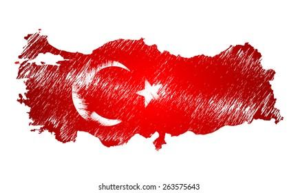 Scribble stylized map of Turkey. Raster version.