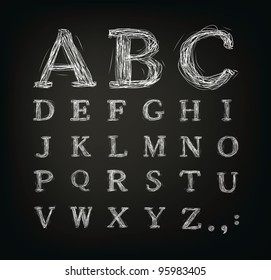 scribbled alphabet in a black board - Jpeg version of vector illustration